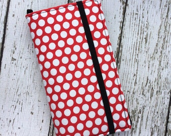 iPhone wallet, iPhone case -Red with white polka dots wallet with removable gel case