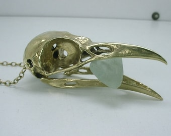 Raven Skull Necklace, Brass Pendant with Moving Jaw