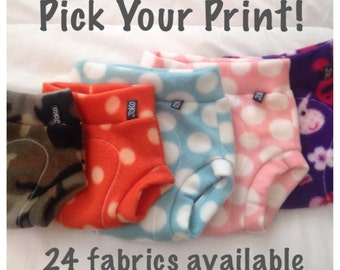 Pick Your Print fleece Diaper Cover / Soaker: 24 fabrics available, small, medium, large, made to order