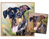 CUSTOM DOG PAINTING pet portrait original oil painting doberman art hand painted on 10x10 made to order by Heather Hughes