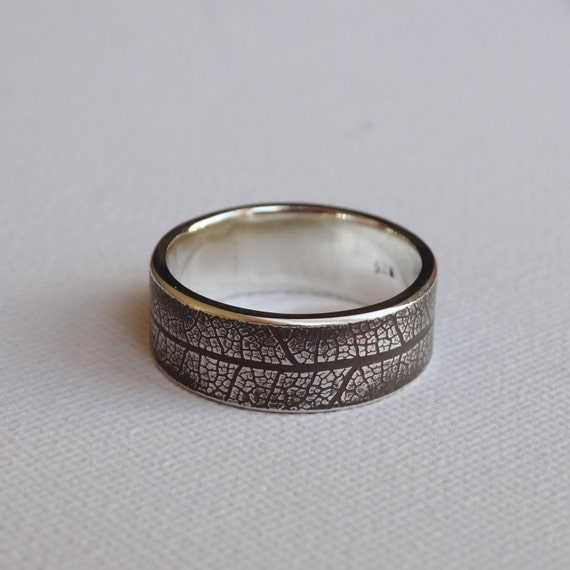 Mens Outdoors Bands: SALE Silver Leaf Ring Men's Wedding Band By TraceyRexJewellery