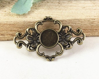 Cabochon Base Settings -10pcs Antique Bronze Flower Connector Charm Pendants 10mm G304-4