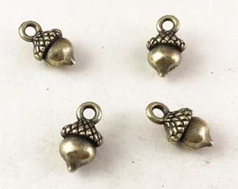 50pcs Antique Bronze 3D Acorn Charm Pendants drop Findings 7x10mm G309-1