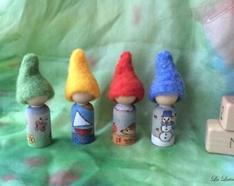 Seasonal Gnomes - Waldorf Calendar Birthday Gnomes -  Year / Annual Calendar Peg Dolls People - Steiner Educational Toy, Homeschooling