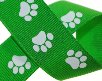 Paw Prints Emerald Green with White 7/8 inch wide - Three, Five, or Ten Yards