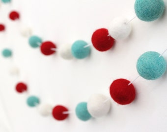 Items similar to felt ball garland in soft circus colors for Arland decoration