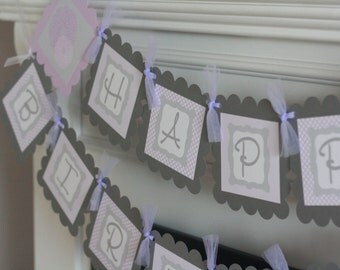 Happy Birthday Lavender Purple & Grey Dahlia Flower Theme Banner - Ask about Our Party Pack Special - Free Ship Over 65.00