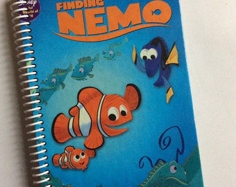 FINDING NEMO Child's Autograph Journal Spiral  Notebook Diary Book Recycled orange green
