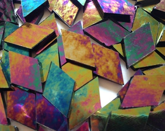 Mosaic Tiles - 100 Small Diamonds - Iridescent Black Stained Glass - Hand-Cut