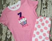 Cupcake Party PJS - Birthday Pajamas Cupcake  - Personalized Cupcake - Monogrammed Cupcake Pajamas - Birthday Outfit- Girls Pajamas
