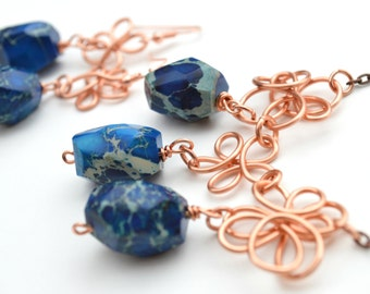 Jewelry Set Copper Wire Deep Blue Necklace Earrings Gift For Her OOAK