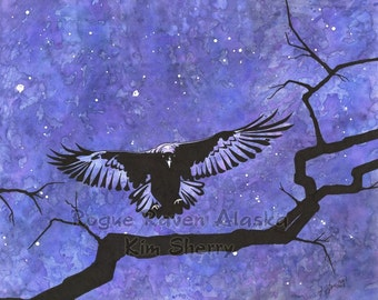 Rogue Raven - Print of a raven landing on a bare tree branch at night