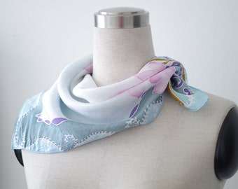 Small square scarf, Floral hand painted light blue, white, pink scarflette. Batik orchids baby blue neckerchief for women Woman or girl gift