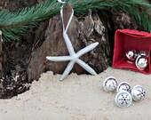 Beach Christmas Ornament - Beach Decor Silver Starfish Christmas Ornament - Set of 3  Starfish Ornaments REAL Starfish  Nautical Ornaments
