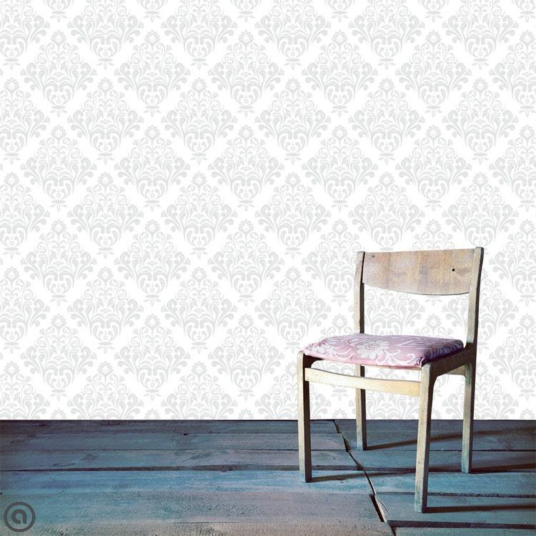 removable wallpaper helen damask peel stick by accentwallcustoms. Black Bedroom Furniture Sets. Home Design Ideas