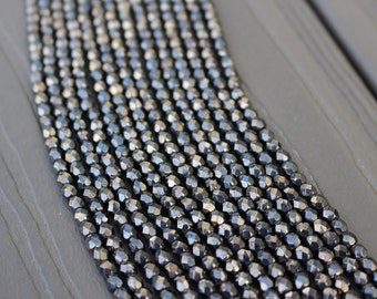 Hematite Firepolished Czech Glass Faceted 4mm Beads 16 inch Full Strand - Approx 100 Beads - Metallic Black Gunmetal