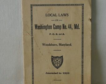 Patriotic Order Sons of America Pamphlet - Local Laws Washington Camp 1929 - Patriotic Order Constitution- Embossed Stamp