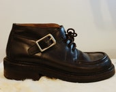 Prada Boots, Leather, 7.5 8, Combat Loafer