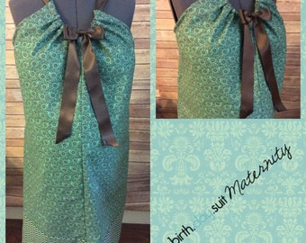 Maternity Hospital Gown- green with brown mini flowers, chevron band