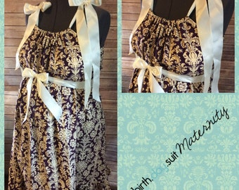 Maternity Hospital gown: purple and cream damask- ruffle
