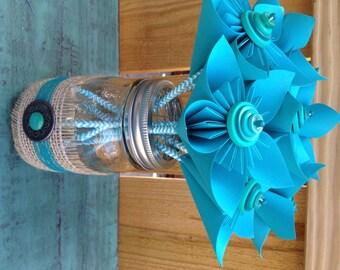 Teal Kusudama Paper Flower Wedding Favors in Hand Decorated Mason Jar - 7 Individual Favors & Mason Jar