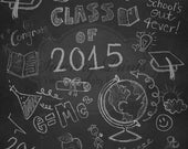 5ft x 5ft Vinyl Photography Backdrop / SWANKY PRINTS ORIGINAL / Graduation Chalkboard