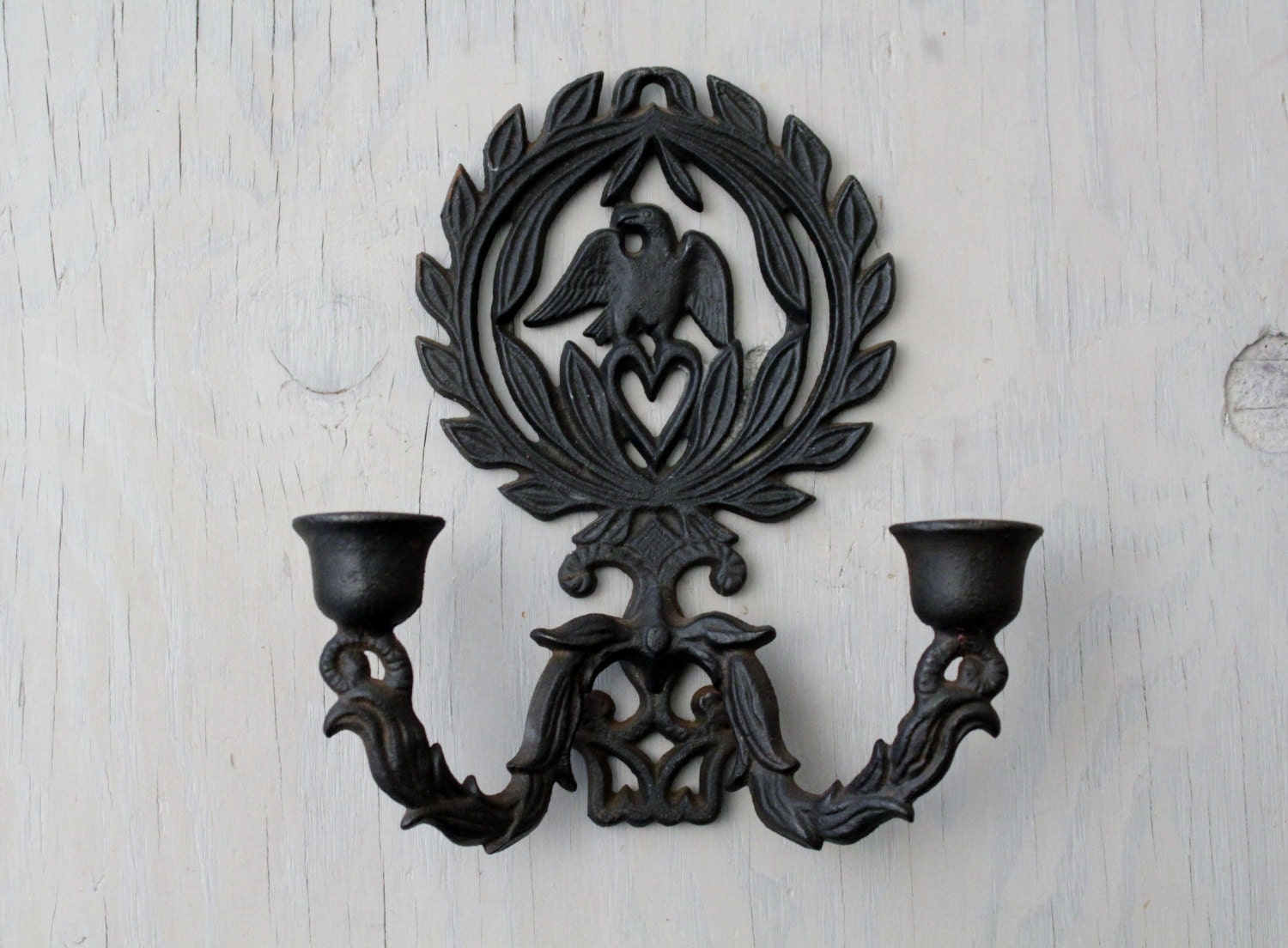 Iron Candle Holder Wall Sconce : Vintage Cast Iron Wall Sconce Candle Holder Cast Iron