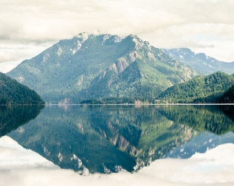 Mirrored Lake, Lake Crescent, Pacific Northwest- 12 x 18 Photography Art Print- Olympic National Forest