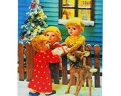 1950s Lenticular 3D Holiday Postcard - Sharing Gifts With Neighbors - Wonder Co., Japan // Vintage Flicker Christmas Card
