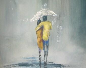 ACEO Print Romantic walk in the rain #1