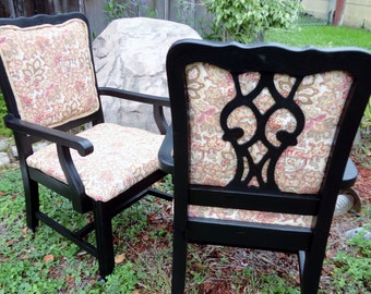 vintage pair wood rolling club chairs Jackson arm chairs wood new upholstery