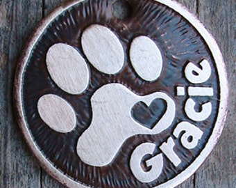 Dog Tag / Pet Tag / Dog ID Tag / Cute Pet Tag / Loving Paw Etched Brass Pet Tag for dogs or cats