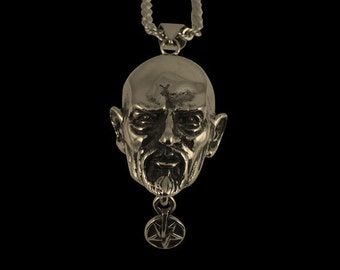 Solid Bronze Anton LaVey The Pope of the Church of Satan Pendant - Free Shipping