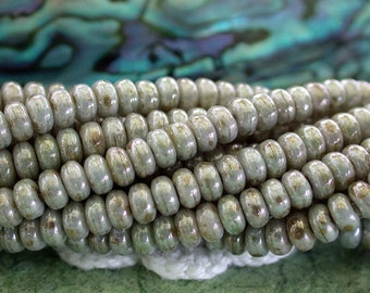 3mm Rondelles, Turquoise Rondelles, Czech Glass Beads, Czech Glass Rondelles, Opaque Ultra Luster Green Beads CZ-514