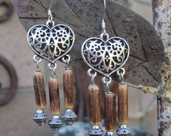 Heart Shaped Filigree Chandelier Earrings with Coconut Tube Beads - Gypsy Boho Earrings