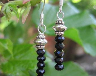 Black Crystal Stack Earrings - Black and Silver Beaded Stacked Earrings