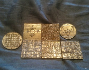 """7 Enochian magick Ensigns of Creation 1"""" size; lost wax cast. Planetary"""