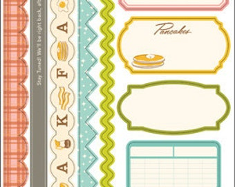 October Afternoon Saturday Mornings Border & Label Stickers -- MSRP 2.50