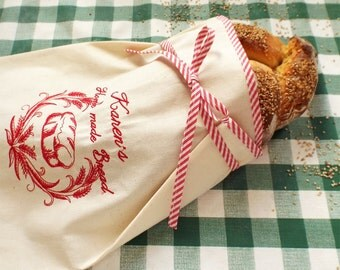 Hostess Gift Embroidered Personalized Natural Canvas Bread Bag, Cotton bag, Reusable bread keeper - Home made bread -