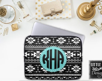 Aztec Laptop Macbook Computer Sleeve Black White Cover Notebook Personalized Monogram