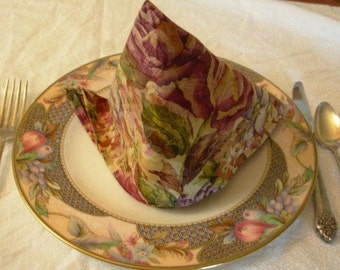 Floral cloth napkins, set of 10, cabbage rose decor, dinner napkins,  floral napkins, rose napkins, table settings