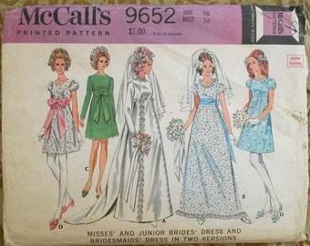 SALE McCalls 9652 wedding dress pattern, bust 38 pattern, modest wedding dress, princess seam dress, 1960s pattern, 1960s wedding dress