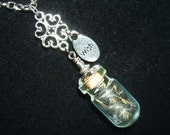 DANDELION WISH NeCKLACE Real Dandelion Seed Wisps in Glass with Word Charm Silver Pltd Free USA Shipping