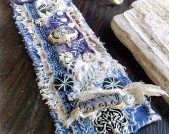 Tattered textile cuff | Evil eye | Textile bracelet | Rustic textile | Fabric bracelet cuff | Boho cuff | Embroidered cuff | Rustic bohemian