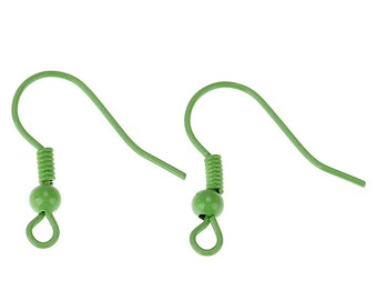 Ear Wire Hooks - Green - Loops With Spring Ball - 19x19mm - 20pcs - Ships IMMEDIATELY from California - EF80