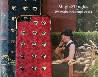 "Stunning Unique Heart Shape Metal Studs Synthetic Leather Case Gold or Silver Frame For iPhone 6s Plus - 5.5"" Cover Case or any other models"