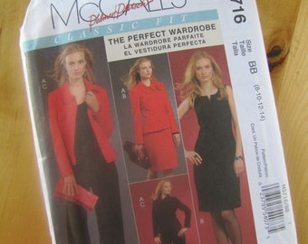 Uncut McCalls 5716 Sewing Pattern - Palmer Pletsch - Misses Lined Jacket and Dress, Flower and Pants - Size 8 - 14