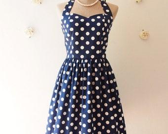 Navy Polka dot Dress Navy Nautical Party Dress Swing Dress Vintage Retro Modern Dress Bridesmaid Rockabilly Dress Plus Size -XS-XL,Custom