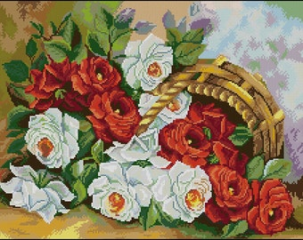 Instant Download Counted Cross Stitch Chart PDF Pattern N125ld - Garden Roses