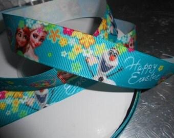 FROZEN EASTER Anna Elsa Olaf Grosgrain 7l8 inch Ribbon 5 yds